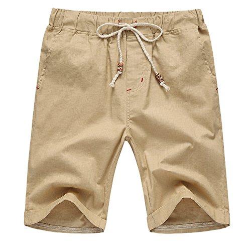 FRAUIT Herren Kurze Leinenhose Baumwolle Bermuda Shorts Solide Strand Lässige Elastische Taille Classic Fit Shorts Regular Fit -