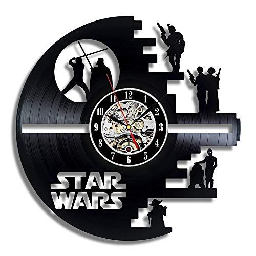 GLJF Vinilo Evolution Star Wars Estrella de la Muerte diseñado Reloj de Pared-Decorar su casa con el Grande Moderno Darth Vader y Luke Skywalker Arte-Mejor Regalo para Amigo, Hombre y niño