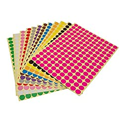 LJY Round Dot Stickers Color Coding Labels, 12 Different Assorted Colors Dot Labels, 12 Sheets