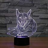 Lumière De Nuit 3D Chien 3D Lampe Multi Couleur Tactile Télécommande Led Atmosphère Visible Veilleuse Cadeau De Noël Enfants Jouets Led Veilleuse