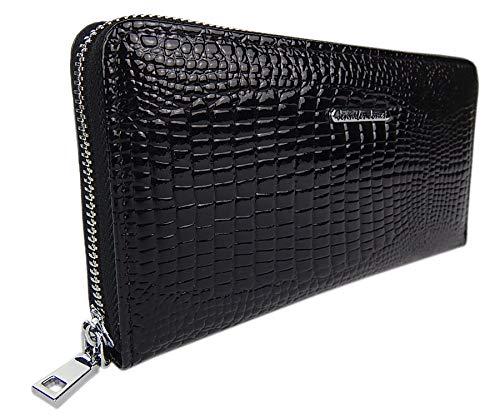 Damen-Geldbörse Portemonnaie Geldbeutel Brieftasche aus echtem und hochwertigem Leder in eleganter Hochglanz Kroko-Optik (Schwarz) -
