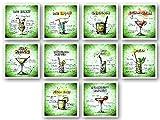 AS Office Art - 10 Magnete für Kühlschrank mit Cocktail Rezepten 60 x 60mm | Kühlschrankmagnet | Deko | Geschenk | Witzig | Cool | Geschenkidee | Cocktailrezepte