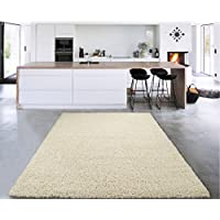 Sweet Home Stores Cosy Shag Collection Solid Shag Rug Contemporary Living & Bedroom Soft Shaggy Area Rug, 150cm L x 210cm W, Cream