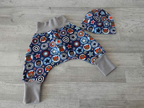 Baumwolle Elasthan Terry (Babyset, Erstlingsset Gr. 56/62. Sweat (French Terry) blau mit Tieren und Sternen, Bündchen hellgrau. 2teilig (Hose und Mütze) 95% Baumwolle, 5% Elasthan)