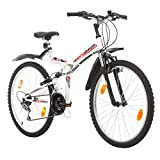Multibrand, PROBIKE FOLDING FSP 26, 26 Zoll, 457mm, Klapp Mountainbike, 18-Gang, Full Suspension, Unisex, Weiß Glänzend Schwarz-Blau Rot Grau (Schwarz-Rot + Kotflügel)
