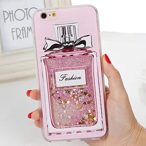 WZYSJK Glitter Flüssigkeit Treibsand Rosa Katze Blume Flamingo EIS Einhorn Parfüm Flasche Fall für iPhone XS MAX XR 6 6S 7 8 Plus Mädchen -