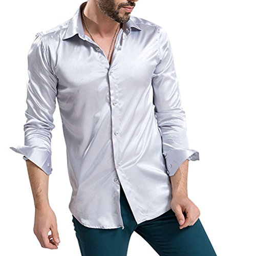 Zhhlaixing confortevole Mens British Style Slim Fit Spring Business Thin Silk Like Shirts Silver