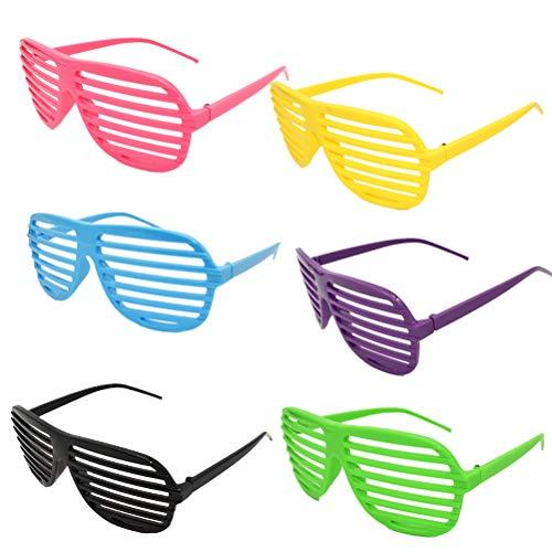 Amosfun 6 stücke Shutter Muster gläser Graduation gläser Nacht Party begünstigt Brillen zubehör Foto Prop einzelne Partei Bachelorette Party Supplies (6 Farben gemischt)