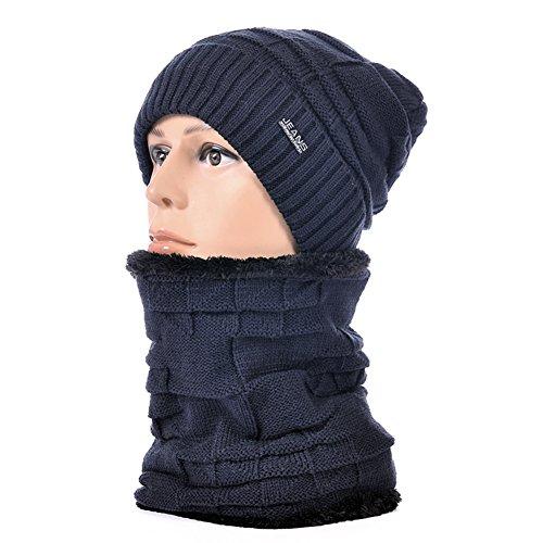 cappelli outdoor uomo/ cappello di maglia filato in tinta unita in autunno e inverno/Aggiungi cashmere spessa caldo orecchio manicotti cappello-B Unica