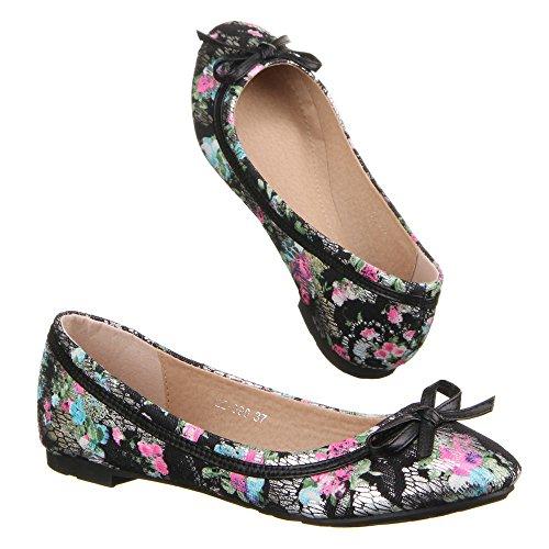 Ital-design Scarpe Da Donna, 22-090, Ballerine Nere Multi