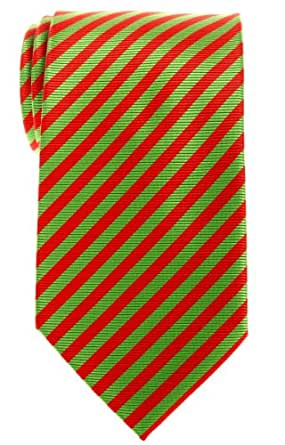 Retreez Stripe Woven Men's Tie - Red and Green, Christmas Gift