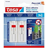 tesa 77764-00001-00 Clavo Adhesivo Ajustable para Azulejos y Metal 3 kg, Blanco, Set de 2 Piezas