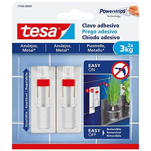 TESA 77764-00001-00 Clavo adhesivo ajustable para azulejos y metal 3 kg, Blanco,...