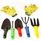 [Sponsored]TiedRibbons® Gardening Gloves Cotton With Gardening Tools Set For Home(Weeder, Cultivator, Big Digging Trowel, Small Digging Trowel, Garden Fork ,1 Pair Heavy Duty Hand Gloves)