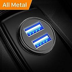 Auto Ladegerät, Metall Mini USB Auto Adapter 12V/ 24V KFZ Ladegerät 2-Port 24W 5V / 4.8A mit Aluminium-Legierung Gehäuse für iPhone XR/Xs Max, Samsung Galaxy S8, Huawei Und mehr (Schwarz)–MEHRWEG