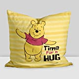 "Disney ""Pooh time to Hug"" Digital Printed Cushion Filled with Microbeads - Pack of 1 (14""x14"")"