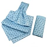 Navy Dots on Sky- Blue Cravat with Pocke...