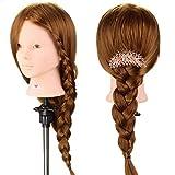 Neverland Beauty 24 Inches 50% Echthaar Haare Lange Haare Übungskopf Puppenkopf Schminkkopf Trainingskopf Friseurkopf Ausbildung Kopf mit Halter #27