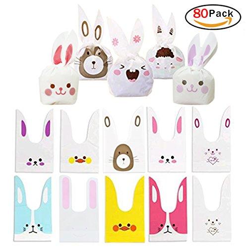 Hemore Kaninchen Geschenk Tasche Party Candy Staubbeutel behandeln Taschen für Party Supplies Gastgeschenken Kaninchen Ohr Form Kekstüten (Behandeln Kaninchen Taschen)