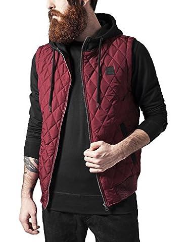 Urban Classics Men's Diamond Quilted Hooded Vest Gilet, Multicoloured-Mehrfarbig (Burgundy/Black 619),