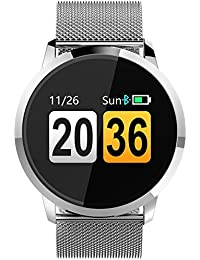Fitness Trackers Heart Rat Blood Pressure Monitor Notification Pedometer Smart Watches Android iOS Stainless Steel
