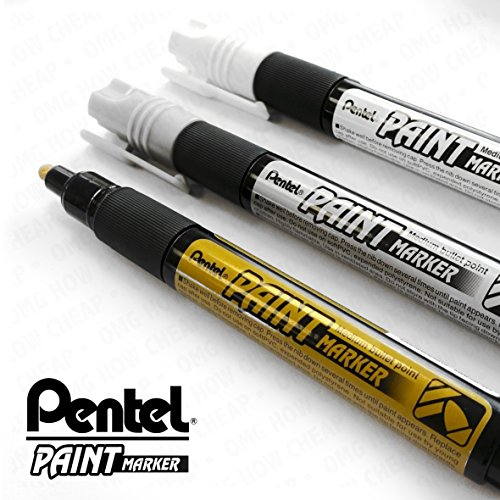 pentel-cellulose-paint-marker-medium-bullet-tip-mmp20-3-pen-set-gold-silver-and-white
