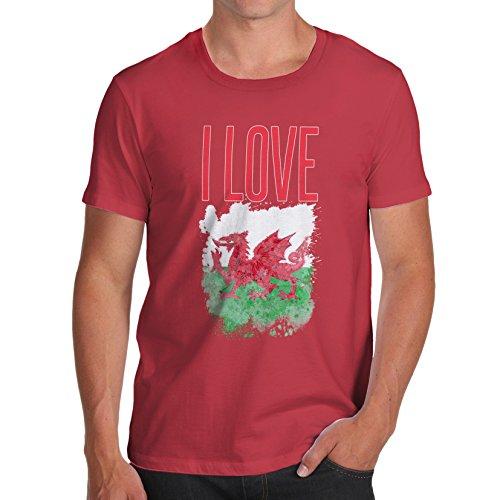 Herren I Love Wales T-Shirt Rot