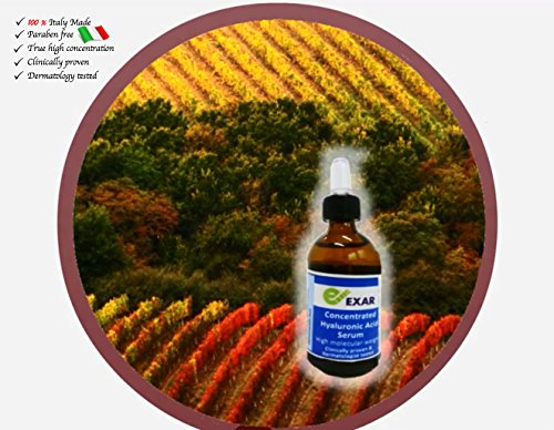 Clinically Proven and Dermatologist Tested EXAR CONCENTRATED HIGH MOLECULAR  WEIGHT HYALURONIC ACID PURE SERUM 100% Italy Made (Price inclusive of 20%