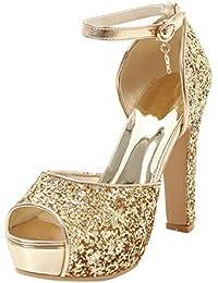 SHOWHOW Damen Glitzer Paillette Peep Toe T-Straps Sandalen mit Absatz Gold 34 EU 26Ihakw