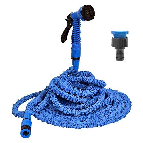 Laishow 15,2m espandibile Giardino Tubo Acqua Tubo Flessibile con Pistola a spruzzo 7-Pattern per Lavaggio Auto irrigazione Fiore (Blu)