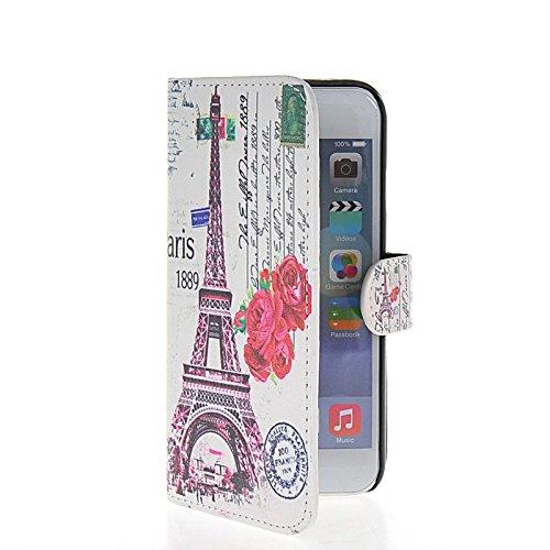 MOONCASE Eiffel Tower Housse de Protection Coque en Cuir Portefeuille Étui à rabat Case pour Apple iPhone 6 (4.7 inch) A16166