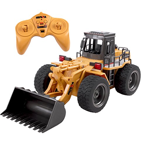 deAO Construction Truck Front Load Remote Control Excavator with LED Lights and Sounds Includes Rechargeable Battery and USB Charger