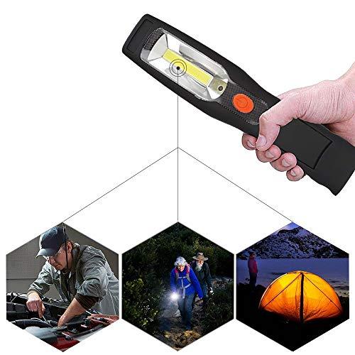 LITTOU 3 W LED lavoro luce 110 V - 220 V AC/12 V lampade di ispezione LED Ricaricabile per Auto riparazione, officina, garage, camping Due Ganci e Magneti Potenti [Classe di efficienza energetica A]