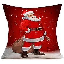 Longra Noël Throw Pillow Case Housse de coussin Décoration de maison 45cm * 45cm (1santa 43cm*43cm)