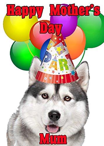 Siberian Husky Hund Happy Mother 's Day Party Hat Karte chmd280personalisierbar Grüße