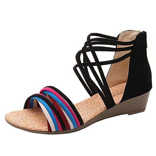 TianWlio Sandalen Damen Sommer Böhmen Hausschuhe Flip Flops Flache Sandalen Strand Tanga Schuhe Schwarz 39