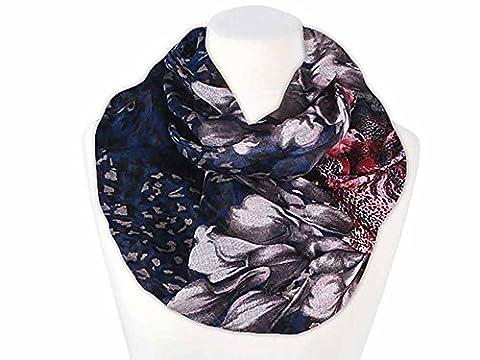 XXL Schlauchschal Infinity Loop Schal Rundschal Blumen Blüten Lilien Leoparden Muster Autiga® navy