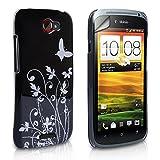 Yousave Accessories® Schwarz Butterfly Hard Cover mit Displayschutzfolie für HTC One S