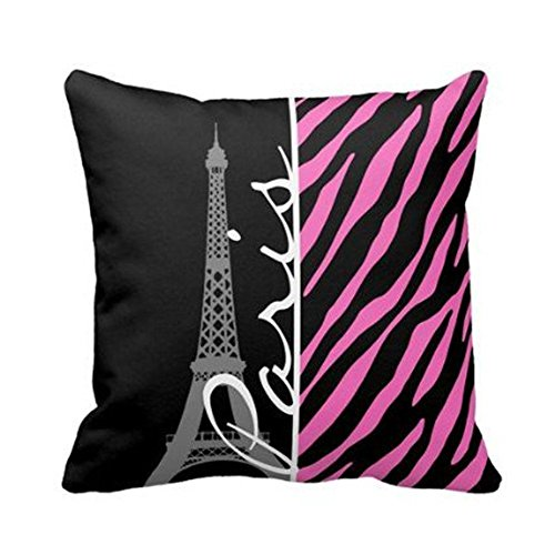 But why miss Paris; Pink & Black Zebra Print Throw Pillow Case Personalized 18x18 Inch Square Cotton Throw Pillow Case Decor Cushion Covers Pink Miss Zebra