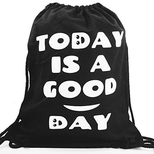 Imagen de premyo bolsa de cuerdas negra 100% algodón con dicho gracioso.  con cuerdas para mujer con impresión today is a good day de alta calidad. gymsac con cordón. saco de gimnasio ideal para viajar alternativa
