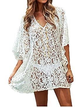 GTKC las Mujeres ropa de playa de Encaje Hueco Traje de ba?o Bikini Cubrir Blusa Vestido de Playa Blanca
