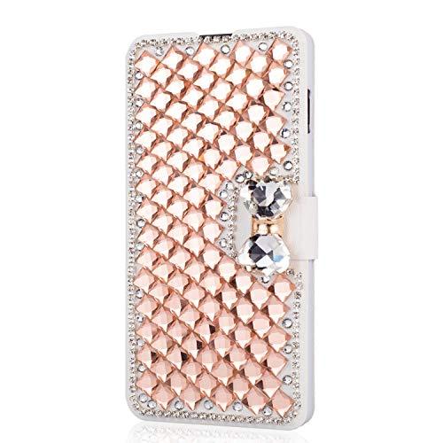 King phone Handyhülle kompatibel mit iPhone 5 iPhone 5S iPhone SE Glitzer Diamant Strass Bling Leder Hülle Flip Slim Case mit Kartensteckplätze Standfunktion Schutzhülle - Rose Gold (5 Cases Iphone Bow Bling)