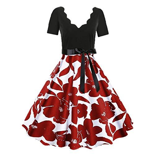 MAYOGO Festliche Kleider Vintage 1950er Abschlussball Kleider Damen Musikalische Druck Hepburn Kleid Swing Kleid Retro 50s Rockabilly Kleid Hinweis Druck Schwingen Kleid Schaukel Kleider (Mädchen Jade Prinzessin Kostüm)