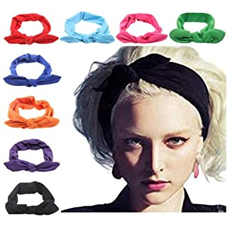 DRESHOW 8 PCS Women Turban Headbands Headwraps Hair Bands Bows Accessories
