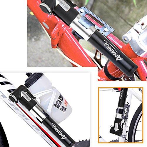 AMANKA Mini Fahrradpumpe 120PSI/8 Bar Teleskopische Luftpumpe Tragbare Rahmenpumpe aus Aluminium mit Halterung, Kompatibel Presta und Schrader für Camping, Biken, Luftballon - 6