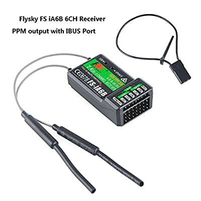 ZCGC-UK Flysky FS-iA6B 6CH Receiver PPM Output with iBus Port 2.4GHz RC Receiver Compatible with Flysky fs i6 t6 i6S i10 i6X Transmitter for FPV Racing RC Drone Quadcopter