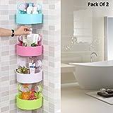 #9: Toku Wall Mounted Waterproof Sucker Corner Triangle Shelf Bathroom Kitchen Storage Rack (Pack Of 2)