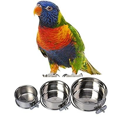 Durable Pet Puppy Dog Parrot Food Water Bowl S M L 3