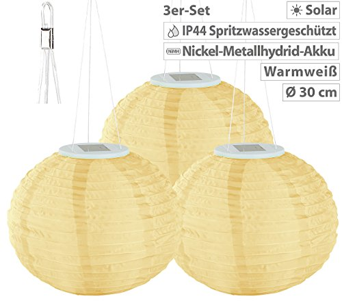 Lunartec Solar Laternen Lampions: Solar-LED-Lampion, Dämmerungs-Sensor, IP44, warmweiß, 30 cm Ø, 3er-Set (Solar-LED-Lampions mit Lichtsensoren) - 2