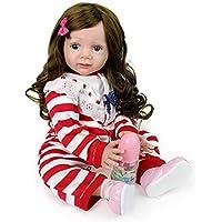 OOFAY Gran Silicona Reborn Baby Doll 70 cm Realista Juguete Niño Pequeño Modelo de Simulación de Regalo de Los Niños Amarillo Largo Pelo Rizado muñeca Femenina